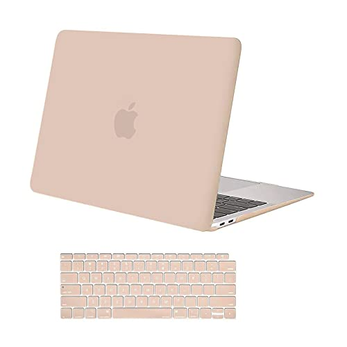 MOSISO Compatible with MacBook Air 13 inch Case 2020 2019 2018 Release A2337 M1 A2179 A1932 Retina Display with Touch ID, Protective Plastic Hard Shell Case & Keyboard Cover Skin, Camel