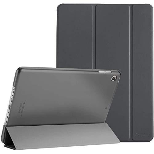 Procase Hülle für iPad 10.2 Zoll 2020 8th Gen/2019 7th Gen, Dreifach Falt Klapp Schutzhülle Hülle, Ultra Dünn Leicht Smart Cover mit Translucent Frosted Rück –Grau