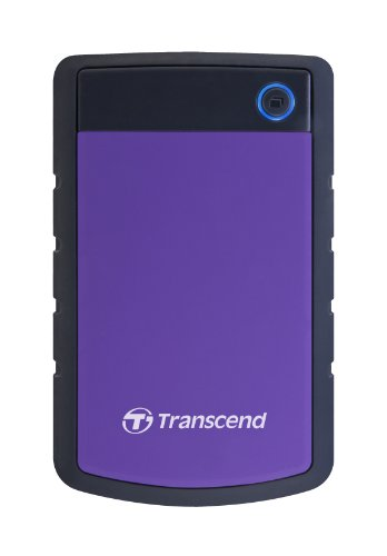 Transcend TS4TSJ25H3P 4TB portable, externe Festplatte (HDD) in purple (lila) mit Backup-Funktion (Datensicherung per Knopfdruck) und Schutzhülle, stoßfest, robust Plug und Play