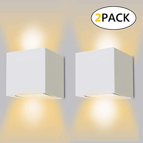12W LED Wandleuchten 2er Pack Modern High Bright 2700-3000K Warmweiß Wandlampe mit Einstellbar Abstrahlwinkel IP65 Wasserdichte