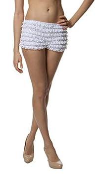 BellaSous Womens Sexy Ruffle Tanga Dance Bloomers Sissy Booty Shorts  Medium White