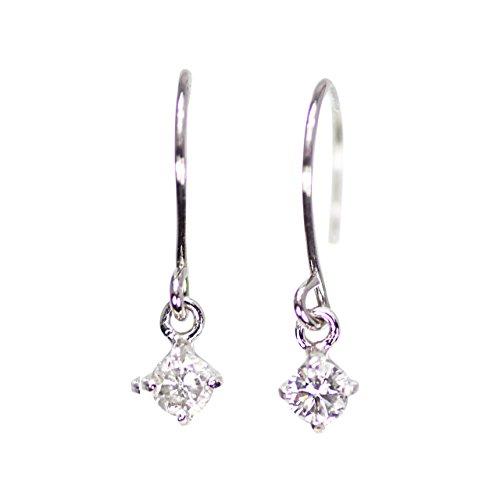 【KASHIMA】プラチナ900 0.1ct ダイヤモンド 一粒石 アメリカン フック ピアス