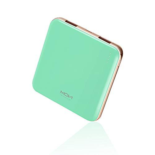 MOXNICE Bateria Externa Movil Power Bank 10000mAh, MÁS Ligero Power Bank con 2 Salidas para iPhone iPad Samsung Huawei Xiaomi, Regalos para Hombres, Mujeres (Verde)