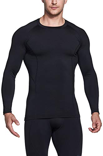 TSLA Men's Thermal Long Sleeve Compression Shirts, Athletic Base Layer Top, Winter Gear Running T-Shirt, Heatlock Round Neck Black, X-Large