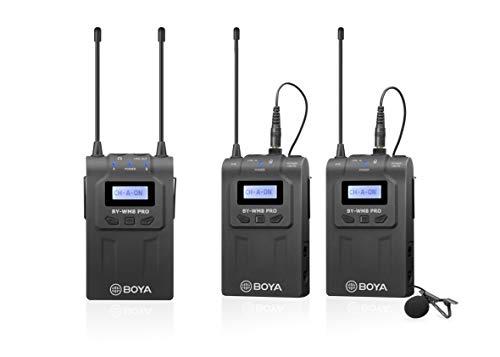 Boya UHF Sistema de micrófono inalámbrico Lavalier con transmisores inalámbricos y receptor,compatible con cámaras Canon,Nikon,Sony,DSLR y XLR,de iPhone,ideal de Inteview,grabación de vídeo,vlogging
