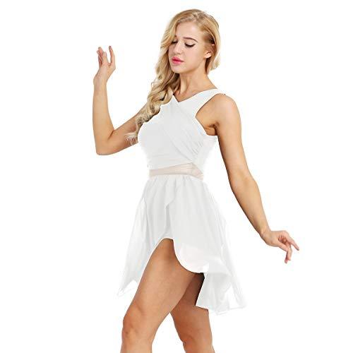 iixpin Damen Chiffon Ballettkleider Ballett unregelmäßig Rock Tanz Trikot für Frauen Ballettanzug Tanzkleider Trikotanzug Tanzanzug Weiß Medium