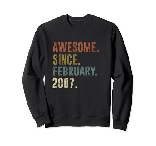 14 cumpleaños retro vintage impresionante desde febrero de 2007 Sudadera