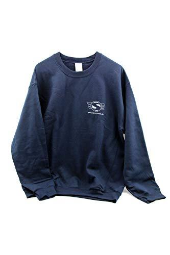 Sweatshirt, Pullover - Größe XL, naviblau - mit Reflexdruck silber (SIMSON-Logo m. Web-Adresse vorne und hinten großem SIMSON-Logo)