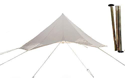 DANCHEL OUTDOOR Waterproof Rain Fly Tarp with Pole...