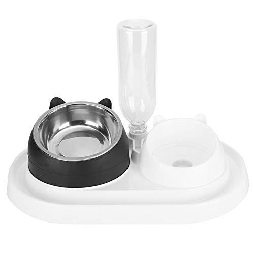 Cocosity Cuenco de Agua para Comida para Mascotas, comedero para Mascotas, Acero Inoxidable automático para Perros, Gatos(Black Dog Plus White, with Stainless Steel Bowl)