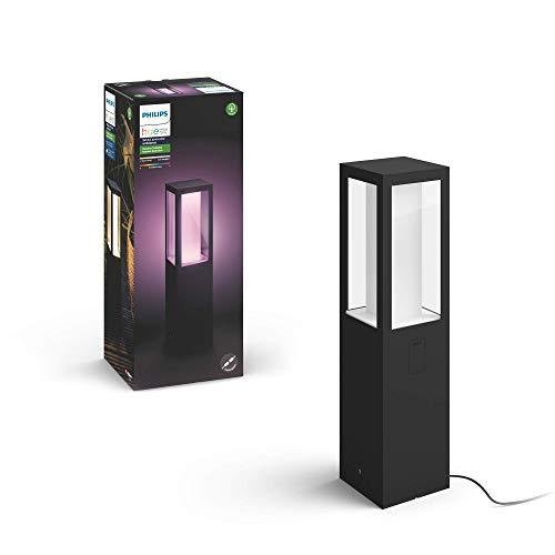 Philips Hue Impress Pedestal o sobremuro exterior LED inteligente (bajo voltaje, extensión) negro, luz blanca y de colores, compatible con Amazon Alexa, Apple HomeKit y Google Assistant