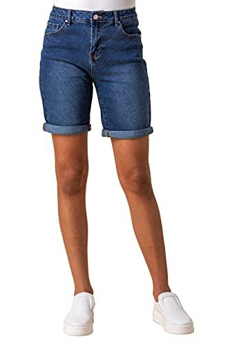 Roman Originals Womens Jeans Denim Shorts with Pockets - Ladies Turned Hem Stretchy Cotton Summer Casual Smart Slim Skinny Regular Half Pant Spring Jeggings Thick Straight Leg - Denim - Size 20