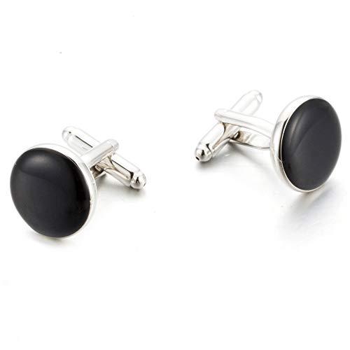KHOBGLU Klassische Silberfarbene Schwarze Lackierung Kupfer Herren Manschettenknopf Luxusknöpfe Manschettenknöpfe
