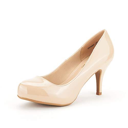 DREAM PAIRS Tiffany Women's New Classic Elegant Versatile Low Stiletto Heel Dress Platform Pumps Shoes Nude-Patent Size 7