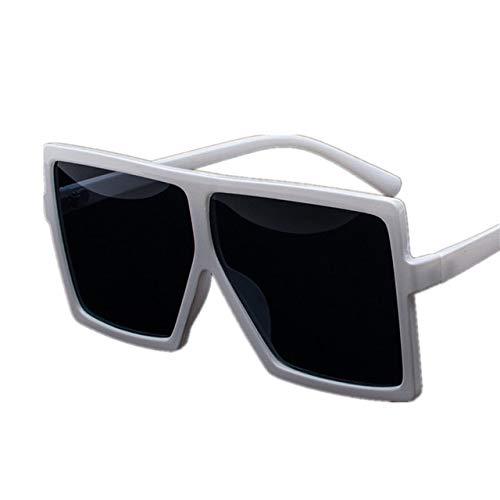 Gafas de Sol de Gran tamaño clásico sin Hombres Retro Marca diseñador Degradado Sol Gafas Gafas Damas Gafas de Sol Uv400 Blanco