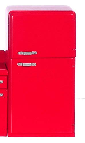 Casa Muñecas 1950 Retro Rojo Frigorífico Muebles