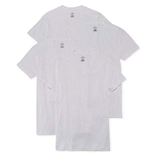 Stafford 4-Pack Men's Blended Cotton V-Neck T-Shirts White (L)