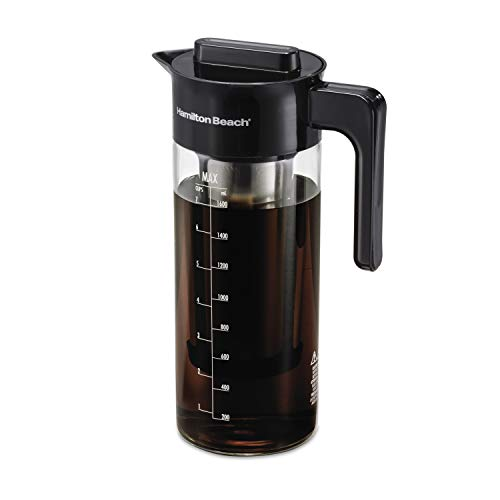 Hamilton Beach Cold Brew Iced Coffee Maker and Tea Infuser 1.7 L (57.5 oz.), Glass Pitcher with Removable Stainless Steel Filter (40405R)