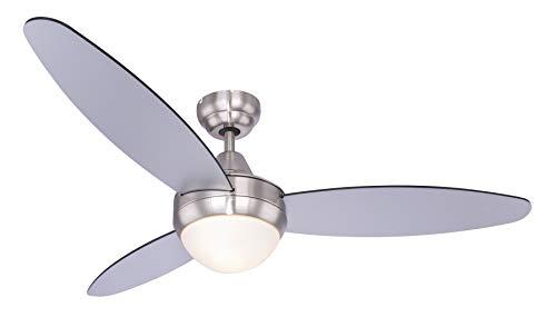 Globo 03611 Plafondventilator, afstandsbediening, zilver, lamp, koeler, warmer, woonkamer, lamp