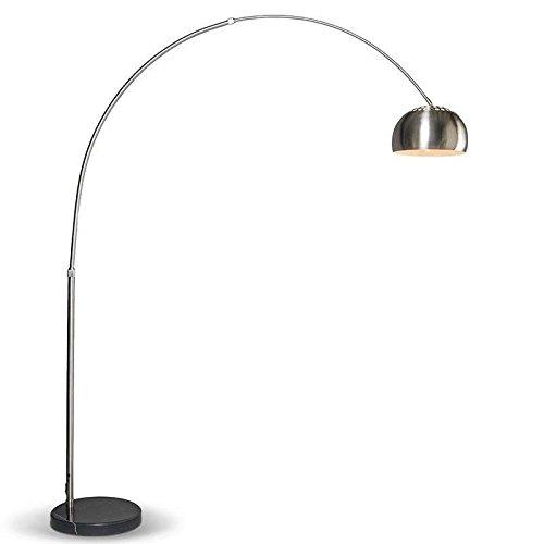 QAZQA Moderno Lámpara de arco moderna acero ajustable - GRANDE Acero inoxidable/Mármol Redonda Adecuado para LED Max. 1 x 60 Watt