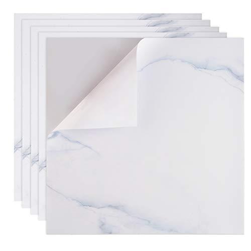 Irich Wasserdicht Selbstklebende Fliesenaufkleber 30 * 30CM, Fliesensticker Badezimmer Schmutzige Widerstände Stickerfliesen für Renovieren Küche Bad Wände Deko (5 Stück Weiß)