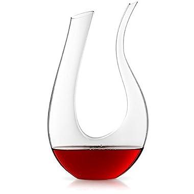 JoyJolt Cigno Wine Decanter Hand Blown Lead-free Crystal Glass Red Wine Carafe 50.72 fl. Oz.