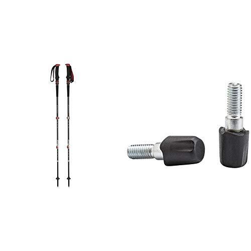 Black Diamond Trail Pro Shock - Bastones de Trekking y Senderismo, Color Negro/Rojo, 68-140cm + Diamond Tech Tips-Rubber Bastones Accesorios, Unisex-Adult, No Color