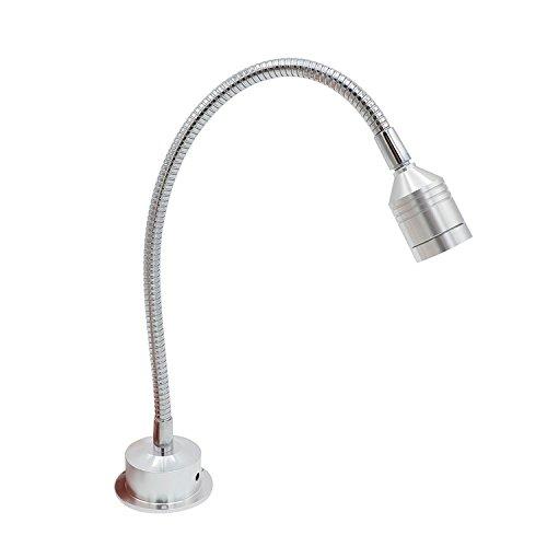 Verstellbare LED-3-W-Mini-Strahler für Schmuckvitrinen, Display-Beleuchtung, neutrales Weiß, silberfarbenes gebürstetes Nickel, Bildlampe