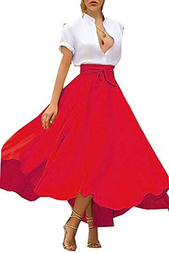 Falda Larga Plisada Vintage De Boho para Mujer, Falda De Cintura Alta para Fiesta De Noche, Falda De LíNea, Faldas Casuales EláSticas