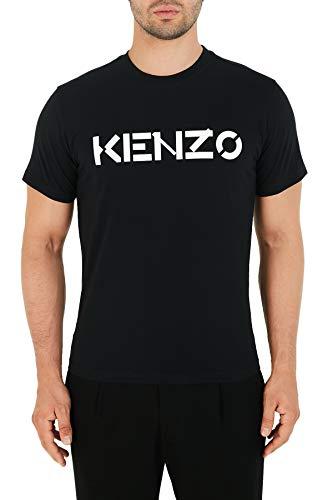 Kenzo Camiseta Hombre, Camiseta Blanca con Logotipo Negro, 100% algodón (tamaño Ajustado)