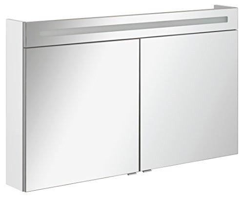 FACKELMANN Spiegelschrank B.CLEVER/zweitürig/Spiegelschrank mit gedämpften Scharnieren/Maße (B x H x T): ca. 120 x 71 x 16 cm/hochwertiger Spiegelschrank/Möbel fürs WC und Bad/Korpus: Weiß