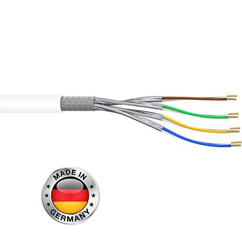Leoni Home CAT.7 10m Verlegekabel CAT7 Netzwerkkabel Installationskabel Datenkabel weiß Datenleitung Ethernet Kabel Kat.7 S/FTP Gigabit 10Gbit Netzwerkkabel cat 7 ethernet Kabel PIMF Kabel