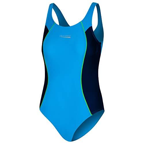Aqua Speed Einteiler Badeanzug Mädchen | Schwimmanzug Training | sportliche Badebekleidung für Kinder mit UV-Schutz | Sport | Sportbadeanzug Wettkampf | Blue - Navy | Gr. 140 cm | Luna