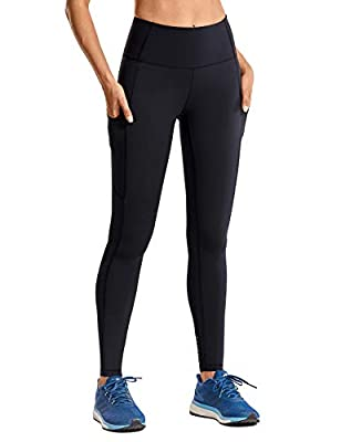 CRZ YOGA Women's Breathable Luxury Naked Feeling High Waisted Yoga Pants with Pockets Athletic Leggings-28 inches Black X-Small
