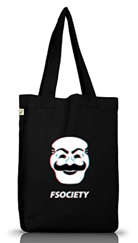 Hacker Serie Jutebeutel Stoffbeutel Earth Positive mit FSociety Motiv, Größe: onesize,Black