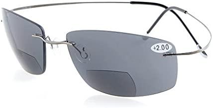 Eyekepper Titanium Rimless UV400 Polycarbonate Grey Lenses Bifocal Sunshine Readers Bifocal Sunglasses +1.5
