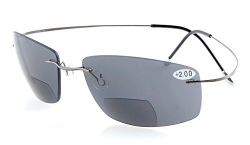 Eyekepper Titanium Randlos UV400 Polycarbonat Grau Linse Bifokal Sonne Leser Bifocal Sonnenbrillen+1.5