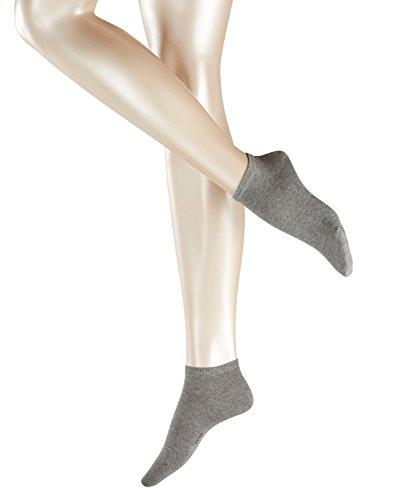 ESPRIT Damen Sneakersocken, 80% Baumwolle, Unifarben, weiche Baumwollmischung, Grau (Light Grey Melange 3390), 35/38, 2er Pack