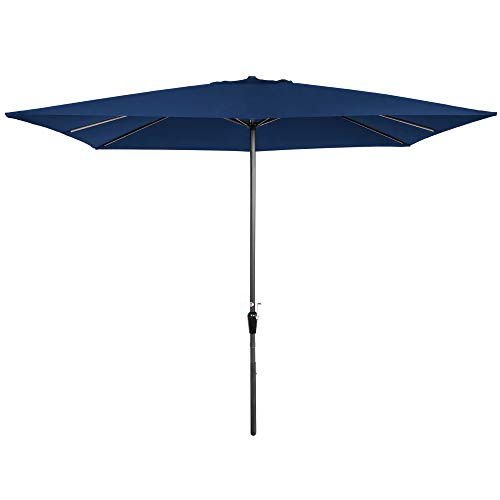Best Choice Products 8x11ft Rectangular Patio Market Umbrella w/Rust-Resistant Frame, Hand Crank, Fade-Resistant 210G Polyester Fabric, and Wind Vent, Navy Blue