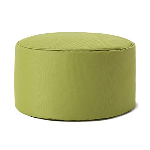 Lumaland Indoor Outdoor Sitzhocker 25 x 45 cm - Runder Sitzpouf, Sitzsack Zubehör, Rundhocker, Bean Bag Pouf - Wasserabweisend - Pflegeleicht - ideal für Kinder und Erwachsene - Grün