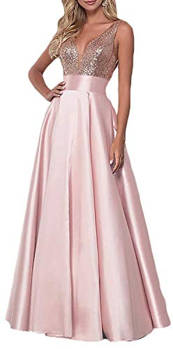 ANFF Women's Sequin Prom Dresses Long Satin V-Neck Formal Evening Party Gowns Ball Gown Bridesmaid Dresses Rose Pink (Apparel)