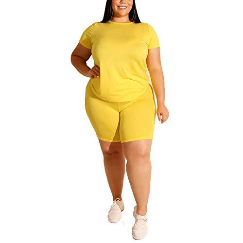 LIXILI Conjuntos para Mujeres Trajes De 2 Piezas Manga Corta Color Sólido Camisetas Pantalones Cortos Ajustados Traje De Traje Jumpsuit,Amarillo,XXL
