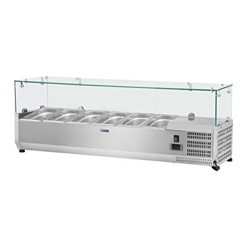 Royal Catering Saladette À Poser Table Comptoir Réfrigéré RCKV-140/39-G4 (Volume Total De 50 Litres, 5 Récipients Gn 1/3, Thermostat Automatique)