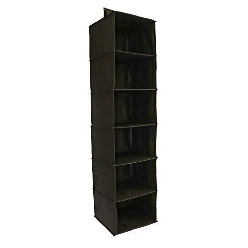 Closet Shelves Hanging Organizers Black Hanging Organizer Storage-6 Shelf-Organizer-Clothes-Clothing-Wardrobe-Handbag-Dorm Closet Storage-Collapsible Closet Organizer-Easy Mount-Black