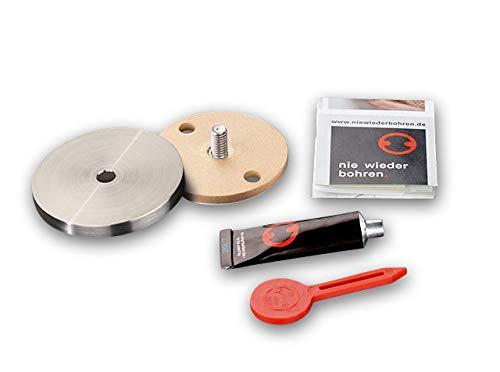 PHOS Edelstahl Design, RNB45-6, Klebeteller für PHOS Duschvorhangstangen & Haken, Montage ohne Bohren, restlos wieder entfernbar, inkl. Edelstahlabdeckung, matt geschliffen, Ø4.5 cm, Höhe 6 mm, 1 Stk.
