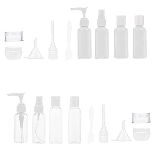 DOITOOL 2 Juegos 12 Unidades de Contenedor de Cosméticos de Viaje Set de Botellas de Aseo de Viaje Set de Botellas de Spray Tarro de Crema Cuchara Embudo de Maquillaje Botella de Líquido