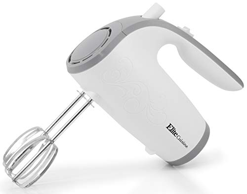 Elite Gourmet EHM-003X Ultra Power Electric 5-Speed Kitchen Hand Mixer with 2 Extra Wide Stainless Steel Smooth Creamy Whipped Mixtures Plus Convenient, Beater Storage, White