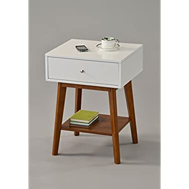 White / Dark Oak Side End Table Nighstand with Drawer and Shelf 24 H - Mid-Century Style