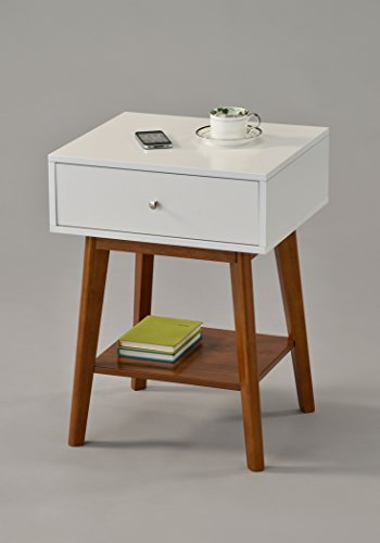 White/Dark Oak Side End Table Nighstand with Drawer and Shelf 24' H - Mid-Century Style