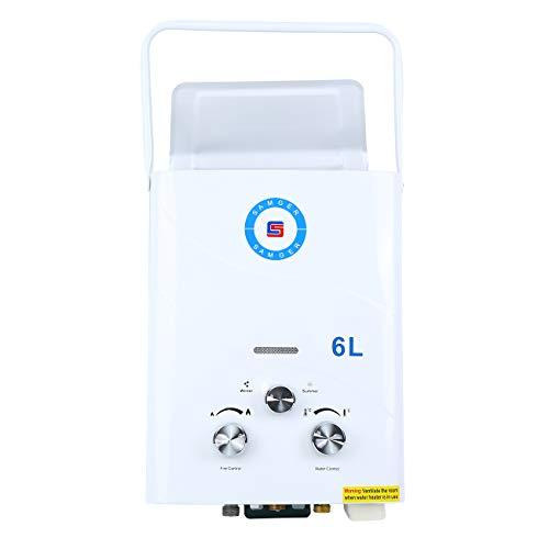 Samger 6L LPG Calentadors de Agua Instantaneo Calentador de Gas sin Tanque Petroleo Licuado Quemador de Agua Caliente